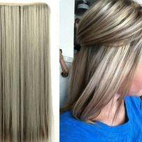 Тресса прядь одиночная широкая прядь искусственная накладка волос