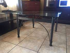 Cast Iron & Glass Square Table