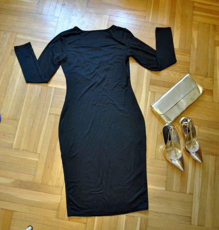 czarna obcisła sukienka z sexy głębokim dekoltem nowa 36 38 40 sylwest Elbląg - image 3