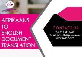 Afrikaans Document Translations services