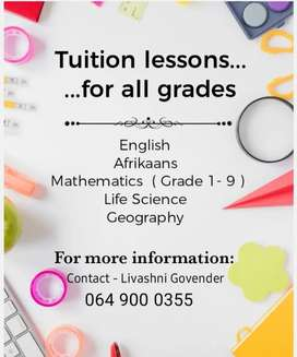 Tuition lessons available
