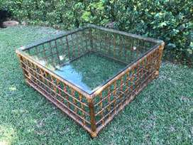 100x100x 43.5 Square Cane coffee table for sale
