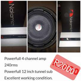 4 channel amp & 12inch sub for sale