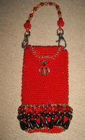 мини сумочка косметичка с божьей коровкой красная ручная работа