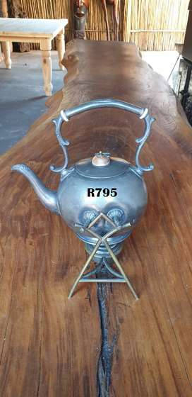Antique Silver Plated Spirit Tilting Kettle on Stand