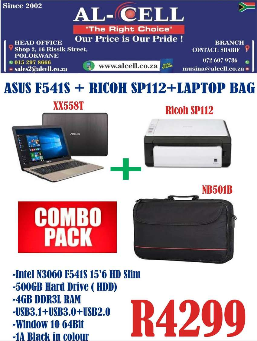 COMBO PACK FOR ASUS F541S +RICOH SP112 PRINTER + LAPTOP BAG 0