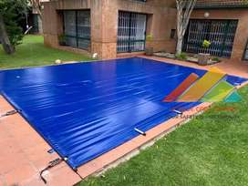 Solid PVC Safety Pool Covers with Aluminium Poles and Ratchets