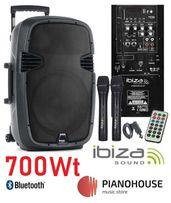 Активная колонка с микрофонами 700 Вт IBIZA HYBRID15VHF-BT аккумулятор