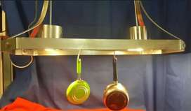 Stainless steel hanging pot and saucepan stand with spotlights