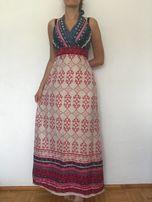 Piękna maxi sukienka do ziemi 38 M wiązana na szyi