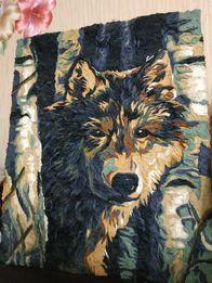 Волк из ниток мулине на холсте
