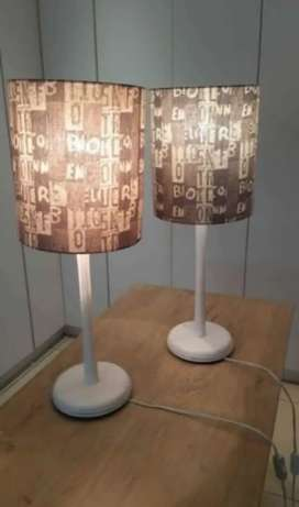 White wooden lamps
