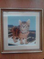 """Картина """"Кот на фортепиано"""" ручная работа. Вышивка крестиком"""