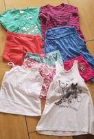 Paka bluzki, spodenki, spódniczka rozmiar 122-128