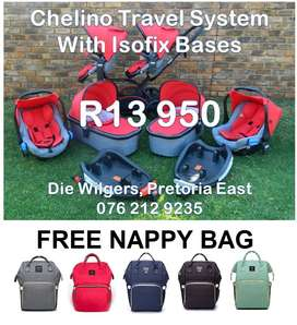 Second Hand Chelino Twin Travel System with Isofix Bases
