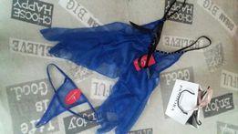 Nowa koszulka nocna+stringi chabrowa ozdobne perełki rozm XS/S