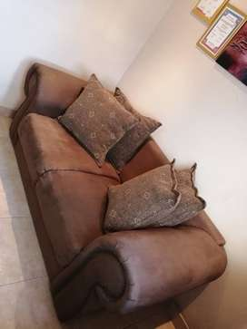Chocolate brown suede couch