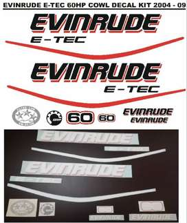 Evinrude 60 ETEC motor cowl decals stickers vinyl graphics