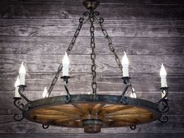 Duża lampa żyrandol rustykalny koło 110cm średnicy