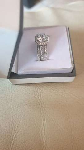 Silver three band princess ring for sale