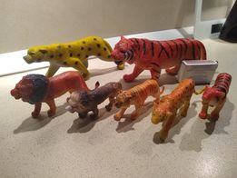 dzikie koty, figurki, zestaw 7 szt.