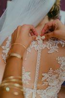 Suknia ślubna koronkowa śmietankowo-migdałowa