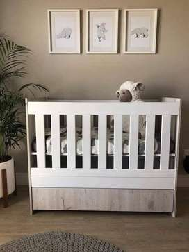 Cot (Large) and Compactum - white and grey, custom designed