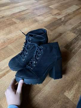 High heel black lace up boots