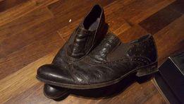 Buty INTERSHOE całe skórzane 100%, elementy ze strusiej skóry, brązowe