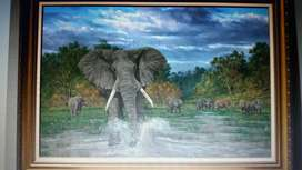 Wildlife Big 5 Oil on Canvas +1 Large Landscape