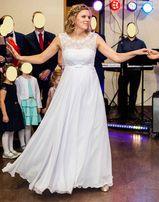 Suknia ślubna biała 176cm+6 cm - muślin