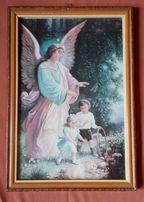 Obrazek starodruk lub reprodukcja z aniołem stróżem