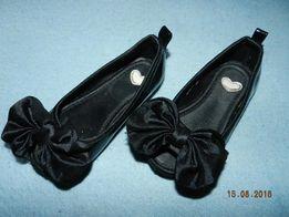 czarne baleriny kokarda HM 24 błyszczące max 14cm buciki