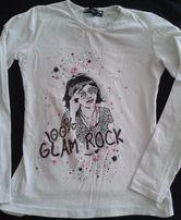 Белая футболка с принтом и стразиками для девочки 8-10 лет