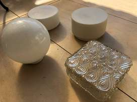 Bowl light fittings, white and clear glass