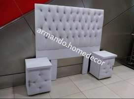 New white pleather headboard and pedestals with crystals