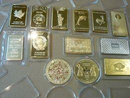 Золоті зливки різних країн.