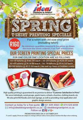 Spring tshirt printing Special and vinyl signage