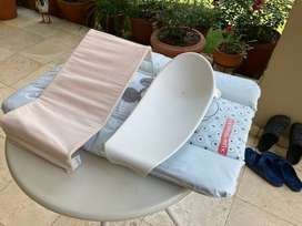 Collection of baby bath accessories, changing  mat bath support frame