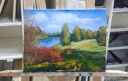 Картина маслом Осень 30×40 Осенний пейзаж