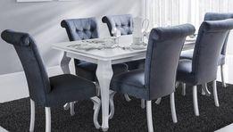 Stół drewniany rozkładany Ludwik III K + 6 krzeseł B56G BIAŁY POŁYSK