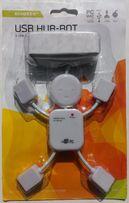 Adapter do PC komputera, laptopa w kształcie robota 4 porty USB HUB
