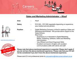 Sales and Marketing Administrator – Kloof