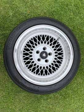 15 inch Mags with Semi Slicks.