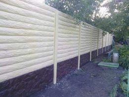 забор бетонный цветной, серый, еврозабор
