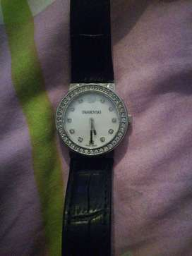 Beautiful black leather strap Swarovski watche