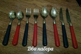 Нож, ложка, вилка, ложечка. В наличии 2 набора в синем и красном цвете