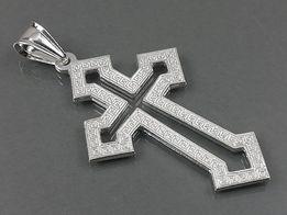 Srebrny krzyżyk, duży, ciekawy wzór z pudełkiem