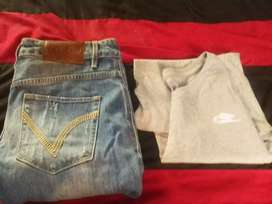 Redbat jeans w30 and Nike t-shirt size small
