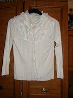 Biały rozpinany sweterek s żabotem S M